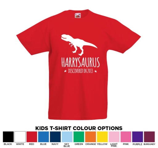 Personalised Dinosaur Name Kids T-Rex T-Shirt Age 1-13 Great Gift Add Any Name