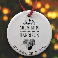 Mr & Mrs 1st Christmas Photo Upload Bauble