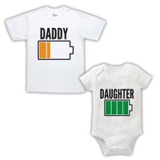Double Pack Baby Grow & T-Shirts- Dad & Daughter Battery