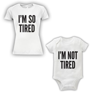Double Pack Baby Grow & T-Shirt- So Tired Not Tired
