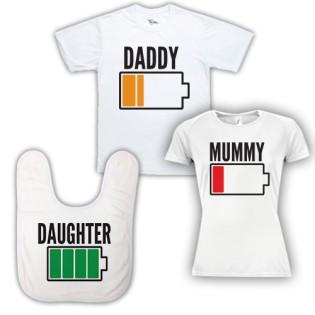 Triple Pack Baby Bib & T-Shirt- Dad Mum & Daughter Battery