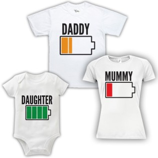 Triple Pack Baby Grow& T-Shirt- Dad Mum & Daughter Battery