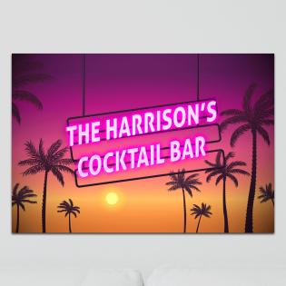Aluminium Wall Art - Any Names Cocktail Bar Neon