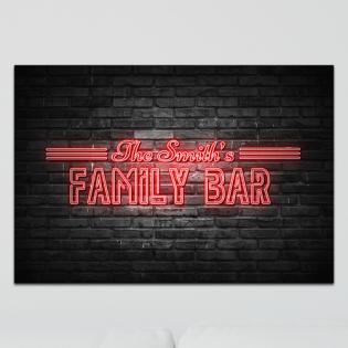 Aluminium Wall Art - Any Names Family Bar Neon