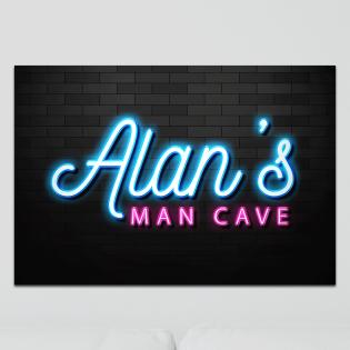 Aluminium Wall Art - Any Names Man Cave Neon