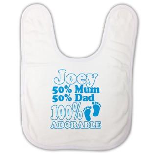 Baby Bib - 100% Adorable Blue