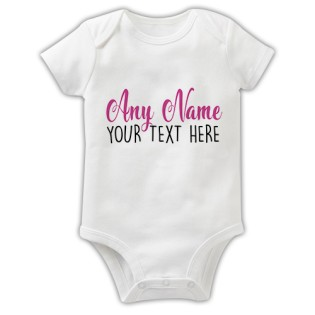 Baby Grow - Any Name Any Text Pink