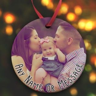 Any Photo & Message Christmas Photo Upload  Ceramic Bauble