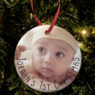 Babies 1st Christmas Photo Upload  Bauble