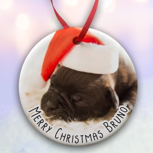 Pets Christmas Photo Upload  Ceramic Bauble