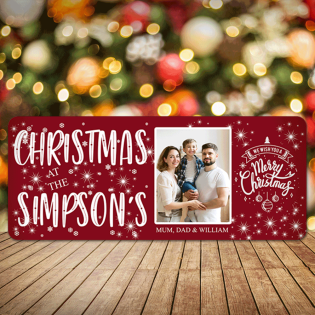 Personalised Christmas Sign Photo Upload Red