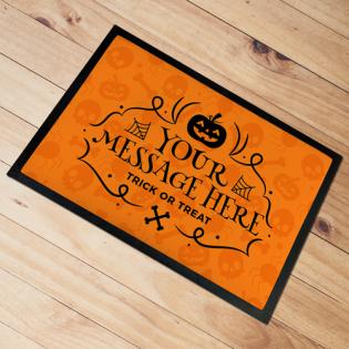 Personalised Door Mat Happy Halloween Orange