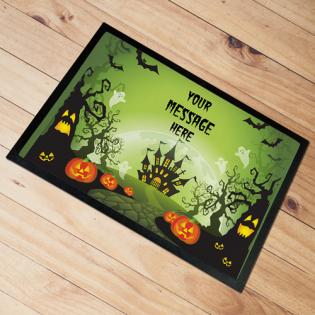 Personalised Door Mat Halloween Green