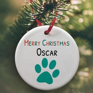 Pets Christmas Paw Print Ceramic Bauble