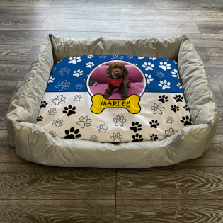 Personalised Dog Bed Paws & Bones Blue