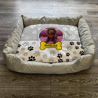Personalised Dog Bed Paws & Bones Grey