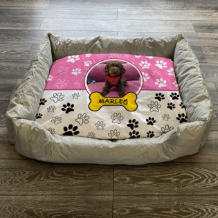 Personalised Dog Bed Paws & Bones Pink