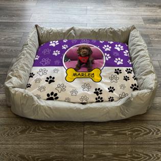 Personalised Dog Bed Paws & Bones Purple