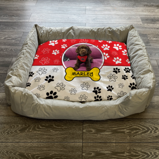 Personalised Dog Bed Paws Red