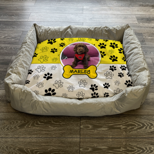 Personalised Dog Bed Paws & Bones Yellow