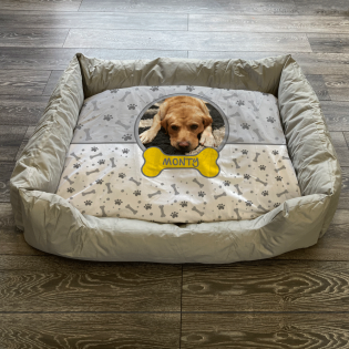Personalised Dog Bed Grey