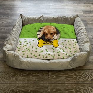 Personalised Dog Bed Lime Green