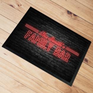 Personalised Door Floor Mat Family Bar Neon