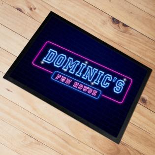 Personalised Door Floor Mat Fun House Neon