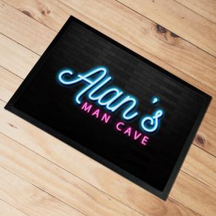 Personalised Door Floor Mat Man Cave Neon