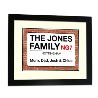 Framed Print - Family Street Sign