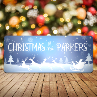 Personalised Christmas Sign Sleigh- Christmas At the Any Family (Blue)