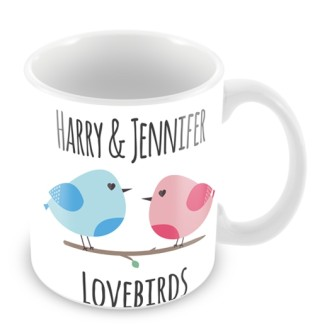 Personalised Valentines Day Mug Lovebirds
