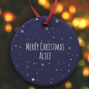 Ceramic Bauble - Merry Christmas Any Name 1