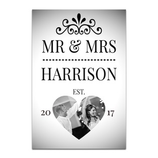 Aluminium Wall Art - Mr & Mrs Photo Upload