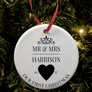 Mr & Mrs 1st Christmas Bauble