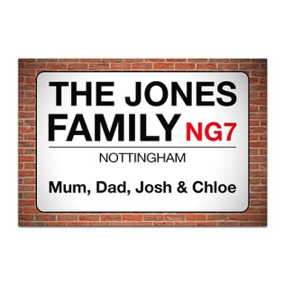 Aluminium Wall Art - Family Street Sign
