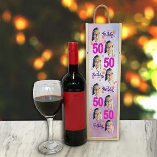 Personalised Wine Box Birthday & Age Pink Photo Upload