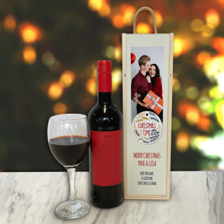 Personalised Wine Box Christmas Time Photo Upload & Text