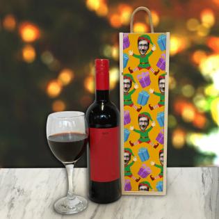 Personalised Wine Box Elf Body Photo Upload