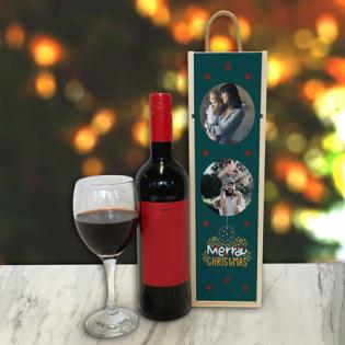 Personalised Wine Box Merry Christmas Dark Green 2 Photo Upload
