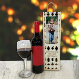 Personalised Wine Box Christmas Presents Photo Upload & Text