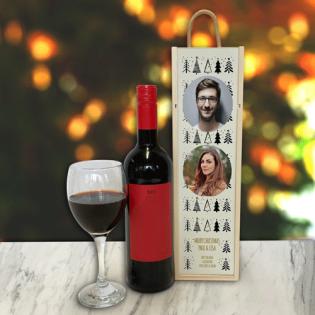Personalised Wine Box Christmas Trees Photo Upload & Text