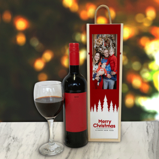 Personalised Wine Box Merry Christmas & Happy New Year Red Trees Photo Upload