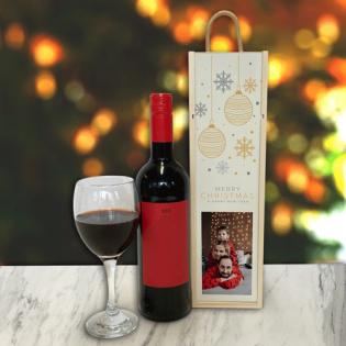 Personalised Wine Box Baubles & Snowflakes Cream Photo Upload