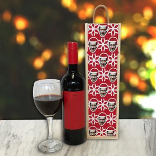 Personalised Wine Box Santa Hat Photo Upload