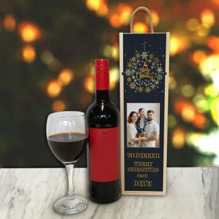 Personalised Wine Box Black Snowflake Photo Upload & Text