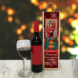 Personalised Wine Box Wreath Red Photo Upload & Text