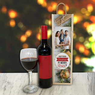 Personalised Wine Box May Your Christmas Be Merry & Bright Photo Upload