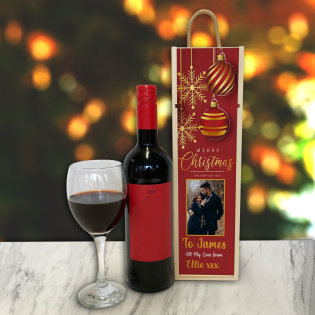 Personalised Wine Box Baubles & Snow Flakes Photo Upload