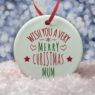 Ceramic Bauble - Wishing you a Merry Christmas Bauble